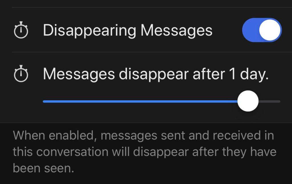 Set the Length of Disappearing Messages