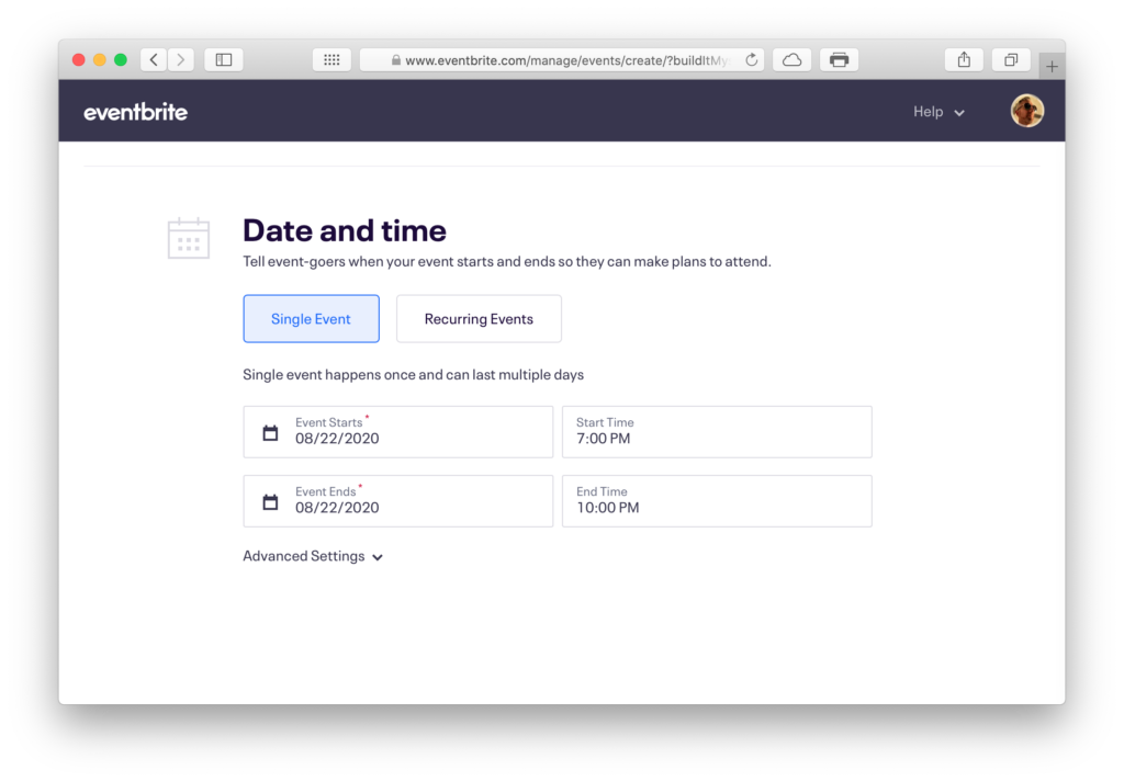 EventBrite Date and Time