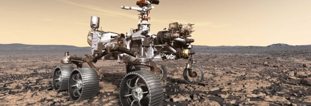 A render of the Mars rover Perseverance from NASA