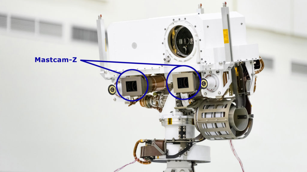 Camera setup on NASA's  Perseverance for Mars exploration.
