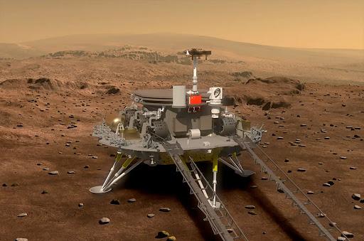 A render of the Tainwen-1 lander on Mars