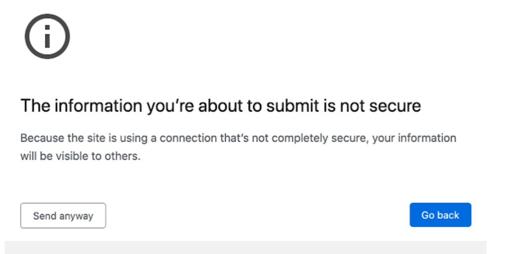Google second warning not secure