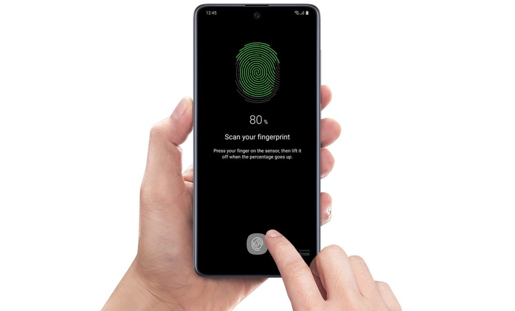 Image of the fingerprint scanning process from Samsung